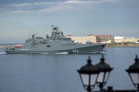 Самый новый фрегат Черноморского флота «Адмирал Григорович» вернулся вСевастополь изСредиземного моря